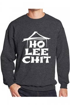 Cool Unique Letter HO LEE CHIT Graphic Printed Crewneck Long Sleeve Pullover Sweatshirt