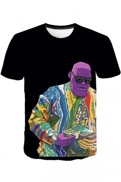 Cool Thanos Figure Pattern Round Neck Short Sleeve Casual T-Shirt