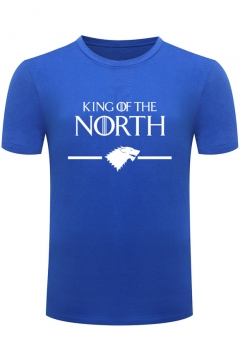 King of the North Wolf Head Printed Round Neck Short Sleeve Slim Fitted T-Shirt