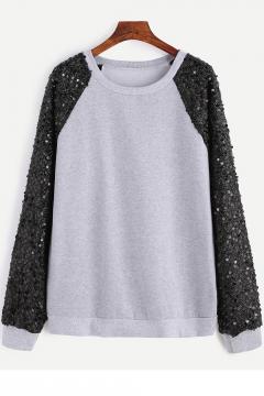 Light Gray Round Neck Sequined Raglan Long Sleeve Pullover Sweatshirt
