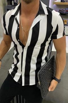 Summer Trendy Vertical Stripe Print Lapel Collar Short Sleeve Slim Fit Cotton Shirt for Men