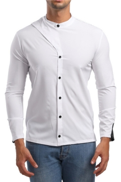 Mens Cool Unique Patchwork Stand Collar Long Sleeve Simple Plain Fitted Shirt