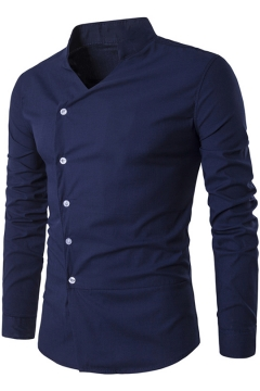 Popular Stand Collar Long Sleeve Oblique Irregular Button Front Slim Fitted Shirt
