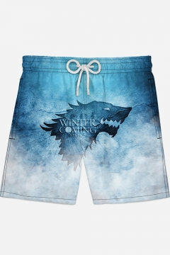 b2d02a0bf4 Mens Cool Wolf Head Letter WINTER IS COMING Pattern Drawstring Waist Blue  Casual Loose Swim Trunks