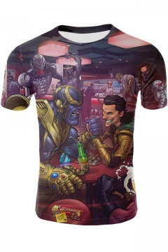 Cool Thanos 3D Comic Figure Print Round Neck Short Sleeve T-Shirt