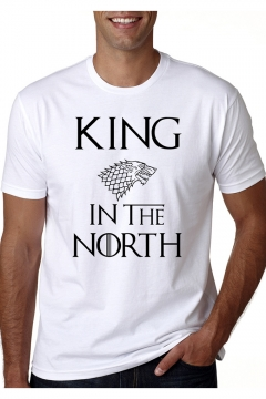 Popular Wolf Head Letter KING IN THE NORTH Graphic Printed Round Neck Short Sleeve White Tee