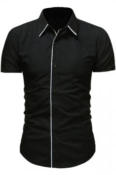 Summer Fashion Contrast Piping Mens Button Front Short Sleeve Slim Fit Shirt