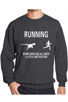 Funny Letter RUNNING Graphic Printed Crewneck Long Sleeve Pullover Sweatshirt