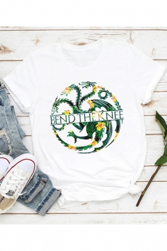 Cool Dragon Letter BEND THE KNEE Print Basic Round Neck Short Sleeve White T-Shirt