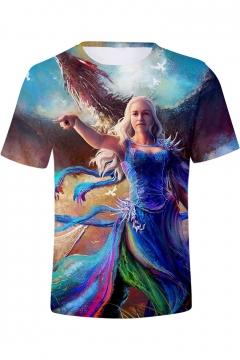 Popular 3D Figure Print Round Neck Short Sleeve Blue T-Shirt