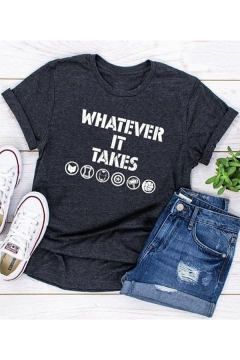 Women's Simple Letter WHATEVER IT TAKES Printed Short Sleeve Round Neck Casual T-Shirt
