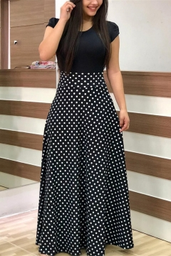 Hot Fashion Round Neck Short Sleeve Polka Dot Printed Maxi A-Line Dress For Women
