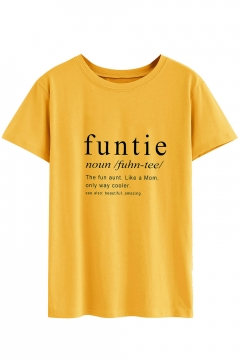 Simple Letter FUNTIE NOUN Pattern Round Neck Short Sleeve Yellow Tee