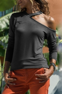 Womens Fashion Cold Shoulder Long Sleeve Simple Solid Color T-Shirt