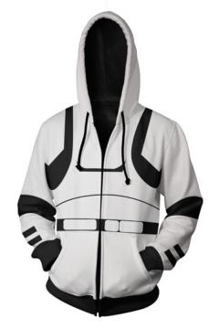 Star Wars Cosplay Costume Long Sleeve Sport Casual White Zip Up Hoodie