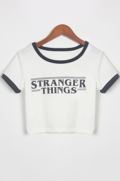 Simple Letter STRANGER THINGS Contrast Trim Short Sleeve White Cropped Tee