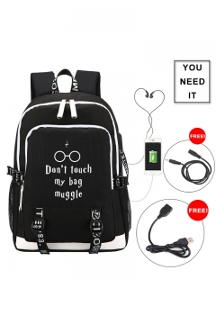New Popular Letter Printed Creative USB Charging School Bag Backpack for Students 30*15*44cm