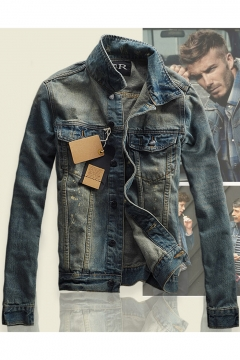 Guys Cool Washed Blue Vintage Bleached Long Sleeve Fitted Denim Jacket