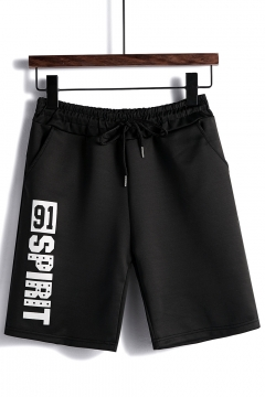 Summer New Fashion Letter Printed Drawstring Waist Relaxed Sweat Shorts for Men