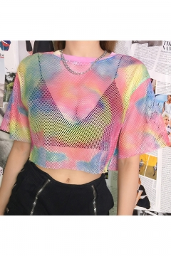 Trendy Unique Colorful Painting Round Neck Hollow Out Mesh Cropped Tee