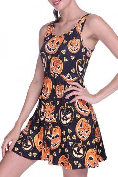 Summer Womens Hot Fashion Halloween Pumpkin Print Sleeveless A-Line Mini Tank Skater Dress