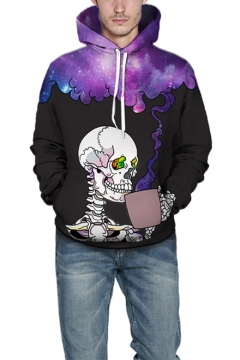 Funny Skull with Drink Purple Galaxy Smog 3D Print Casual Loose Unisex Hoodie