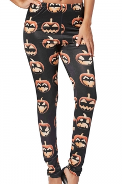 New Arrival Halloween Black Elastic Waist Pumpkin Print Skinny Pants Leggings for Women
