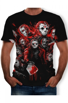 Blood Skull Empire Pattern Round Neck Short Sleeve Black T-Shirt
