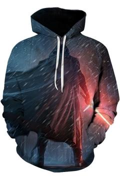Star Wars Cool Rain Figure 3D Printed Long Sleeve Sport Loose Drawstring Hoodie