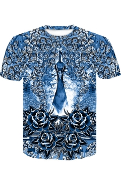 Blue Cartoon Floral 3D Printing Round Neck Short Sleeve Loose T-Shirt