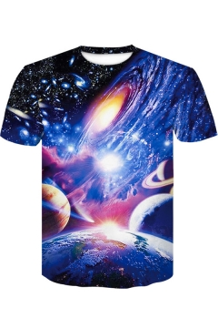 Stylish Blue Universe Galaxy 3D Pattern Round Neck Short Sleeve T-Shirt