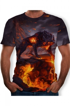 Mens Cool Fire Wolf 3D Printing Round Neck Short Sleeve T-Shirt