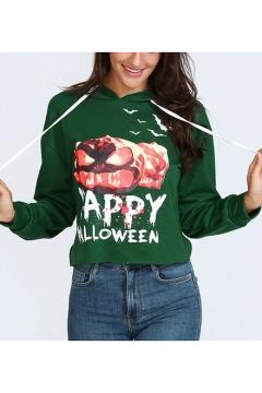 Happy Halloween Pumpkin Printed Long Sleeve Loose Casual Drawstring Hoodie