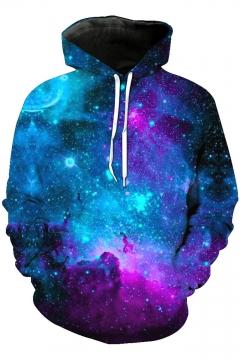 Fancy Blue Galaxy 3D Printed Long Sleeve Casual Loose Pullover Hoodie
