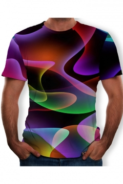 Summer Unique Colorful 3D Printed Short Sleeve T-Shirt