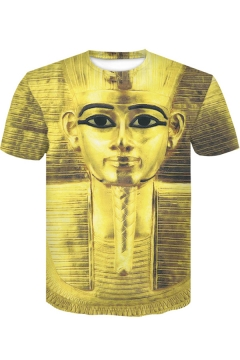 Cool Yellow Figure Statue 3D Printed Round Neck Short Sleeve T-Shirt
