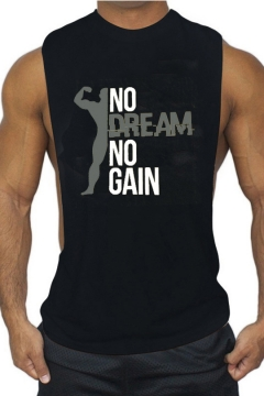 NO DREAM NO GAIN Letter Figure Printed Sleeveless Sport Training Muscle Tank Top