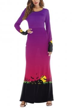 Halloween Stylish Pumpkin Print Long Sleeve Hot Popular Round Neck Maxi Dress for Evening Party