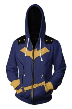 Cool 3D Batman Cosplay Blue Long Sleeve Zip Front Fitted Drawstring Hoodie