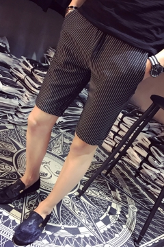 a804fd48a14e Men's Summer Fashion Stripe Pattern Drawstring Waist Black Casual Chino  Shorts