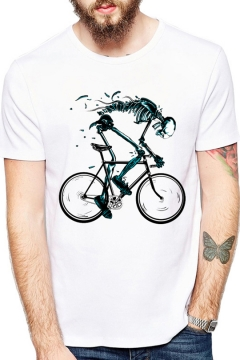 Funny Bike Skull Printed Round Neck Short Sleeve Casual Loose White Tee
