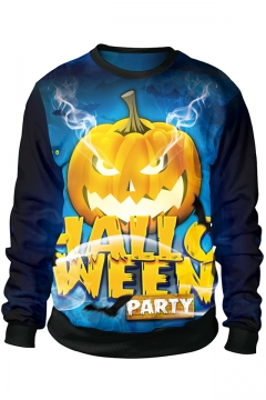 Popular Cool Halloween Party Pumpkin 3D Print Blue Long Sleeve Pullover Sweatshirt