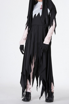 Hot Stylish Halloween Style Black Long Sleeve Asymmetric Hem Colorblock Maxi Dress for Cosplay