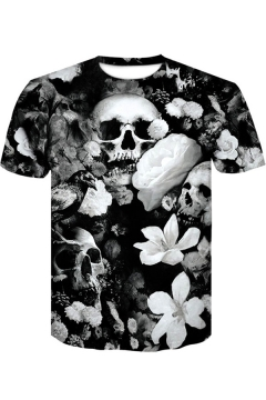 Fashion Black Floral Skull Printed Round Neck Short Sleeve T-Shirt
