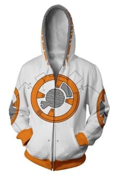 Star Wars Robot Comic Cosplay Costume Long Sleeve White Zip Up Hoodie