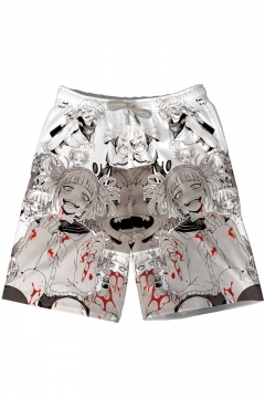 Lively Colored Hand Drawn Style Abstract Composition with Eye Motif Casual Swim Trunks All