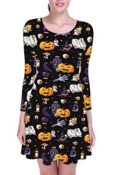 Hot Sale Fashion Halloween Pumpkin Ghost Print Round Neck Long Sleeve Mini A-Line Dress