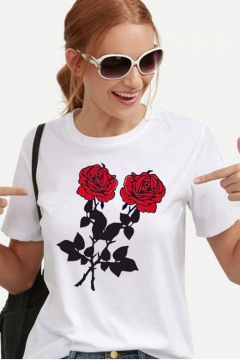 Summer Simple Chic Floral Printed Round Neck Short Sleeve White Casual Tee