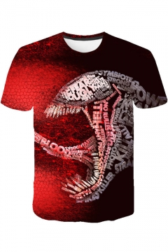 Cool 3D Venom Printed Basic Round Neck Short Sleeve Sport T-Shirt