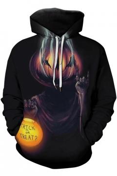 Popular Halloween Cartoon Pumpkin Pattern Long Sleeve Black Unisex Hoodie